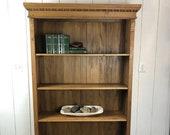 Antique European Waxed Pine Bookshelf, 4 Shelf