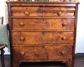 Antique English Mahogany Burled Wood Dresser