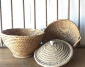 Vintage European Egg Baskets, one with lid, one without. Free Aldie VA pick up/shipping extra