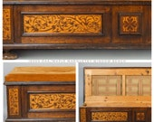 1800s Oak and Maple Marquetry Window Storage Bench with Cushion seating