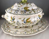 Vintage French Ceramic Faience Tureen (lid, tureen, platter) , R. V. Moustiers, Olerys, Pheasant/Peacock