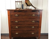 SOLD 1820s Transitional Empire Sheraton Crotch Mahogany Four Drawer Dresser