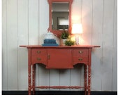 Oblong Foyer Table with Chippendale Style Mirror, Painted Coral