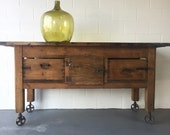 PENDING SALE  Antique Industrial work table, kitchen island, bar Eastern European; Free Aldie VA pick up/Shipping extra