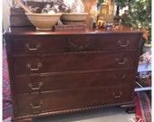 1920s Antique Walnut/Fruitwood Dresser, four drawer