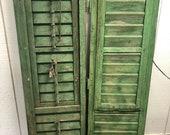 Antique European Shutters, Green, Mid-size