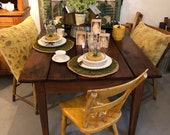 Farm Table, refinished top, tapered legs, pair of chippy yellow chairs