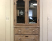 Antique Waxed Pine Hutch,...
