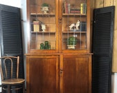 PENDING SALE Antique English Oak Hutch Cabinet Bookshelf, Lead Glass Doors, 2 pieces