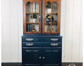 Vintage Temple Stuart Painted Hutch, two piece, Blue