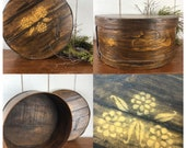 Vintage Round Wood Cheese Box, Stained and Painted primitive style