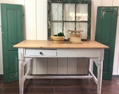 SOLD****Antique pine desk table, whitewashed/painted white with lime waxed top, Free Aldie VA Pick up/Shipping extra