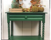 Antique side table with spool-turned legs, one drawer (lined), painted Opulence (Green), Free Aldie VA Pickup, Shipping/Delivery extra