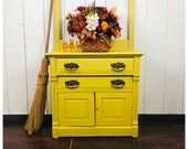 SOLD Antique wash stand, oak, painted Paint Couture Custom yellow