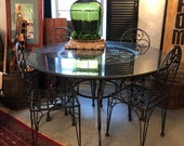 Italian Wrought Iron Table, Grape Motif, Granite/Glass and four chairs