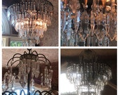 Vintage Italian Chandelier, 6 light, crystal prisms, green patina metal detailing