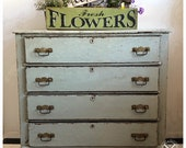 SOLD 1800s pine dresser, painted and Saltwashed, CHIPPY!