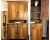 SOLD Antique Pine Stepback Cabinet 2-Piece Hutch