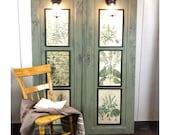 Vintage Door Panel Botanical Wall Sconces