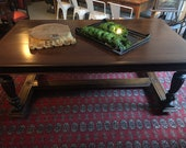 Renaissance Revival Carved Walnut Library Table or Desk, Dining Table.