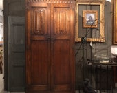 PENDING SALE 19c English armoire wardrobe, oak, 2 door, Renaissance Style