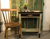 Vintage Small Side Table, Restored, Painted light green and Stained top with Script sides and Gold Gilding