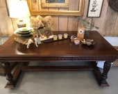 Renaissance Revival Carved Walnut Library Table or Desk, LOCAL Aldie VA Pick Up Only.  SHIPPING Extra