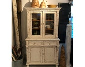 SOLD Chippy White Antique Pine Hutch - Cabinet