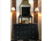 Elegant Black Dresser, striped on top/drawer fronts