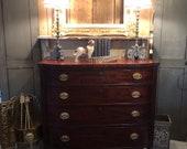 1800s Sheraton Bowfront Dresser, four drawer