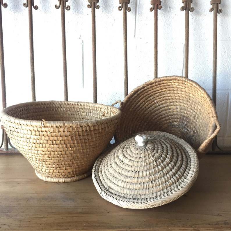 Vintage European Egg Baskets one with lid one without. Free image 0