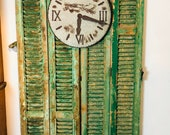 Two Pairs of Antique European Shutters, Green Chippy