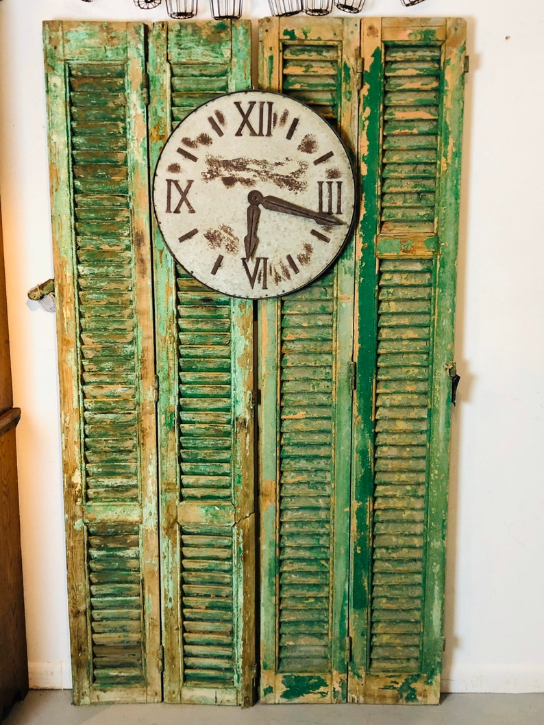 Two Pairs of Antique European Shutters Green Chippy image 0