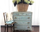 Antique Chippy Blue Cottage Dresser, Painted and Saltwashed