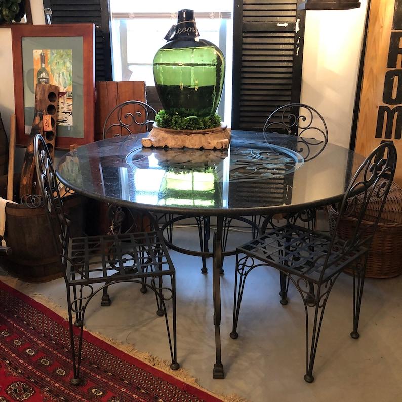 Italian Wrought Iron Table Grape Motif Granite/Glass and image 0
