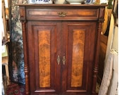 Antique burled walnut gentlemen's cabinet .. SHIPPING available please contact