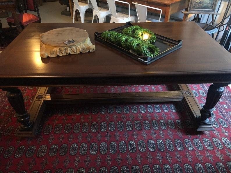 Renaissance Revival Carved Walnut Library Table or Desk image 0
