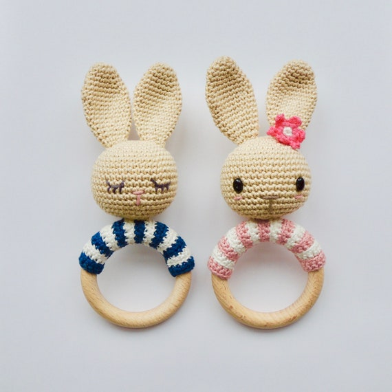 Crochet Pattern Rattle Teething Ring Bunny Etsy