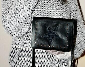 LEATHER BAG Shoulder bag Messenger bag Crossbody leather bag Leather bag women Vegan bag Vegan leather bag Satan Baphomet Baphomet statue
