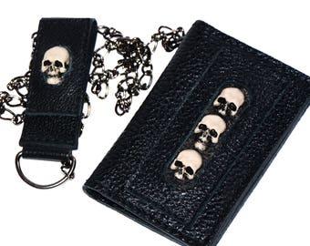 Skull wallet - Black bifold wallet - Biker chain wallet - Mens black leather wallet - Small leather wallet - Biker wallet chain - Skells