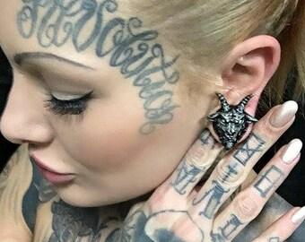 Plugs earrings - Baphomet plugs - Ear plugs - Satan plugs - Lucifer - Baphomet jewelry, Pentagram plugs, Pentagram jewelry, Satanic earrings