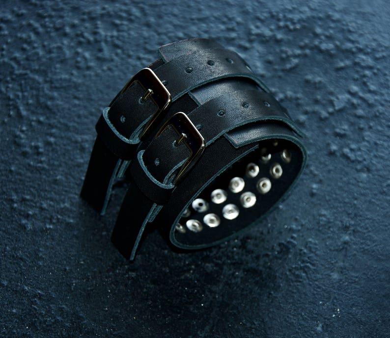 Heavy metal jewelry Leather studs bracelet Rocker bracelets Biker jewelry for men Mens leather bracelet Cuff bracelet mens