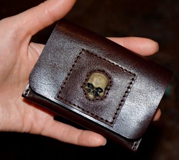 Mały Portfel Mała Portmonetka Portfel Portfel Klapa Karty Kredytowej Portfela Mini Portfel Skull Portfel Ze Skóry Skórzana Portmonetka