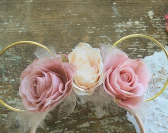 Pink Floral Minnie Mouse Ears