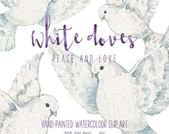 White Doves Hand-painted Watercolour Clipart