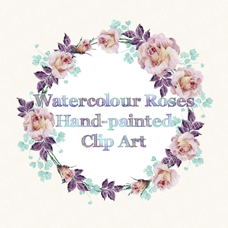 Floral Watercolour Clip Art Purple and Dusky Pink Roses Digital Printable Design.