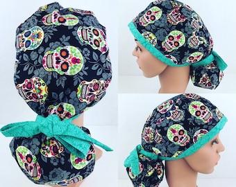 07f29861dd9 Sugar Skull Ponytail Surgical Scrub Hats Womens Medical Hats Scrub Tech Cap  Operating Room Nurse Hat Surgical Cap