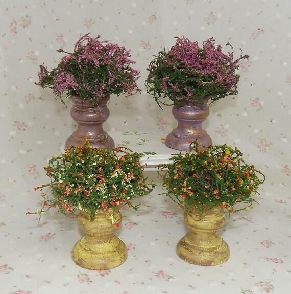 Miniature Plants Filled Planters Dollhouse Garden Etsy