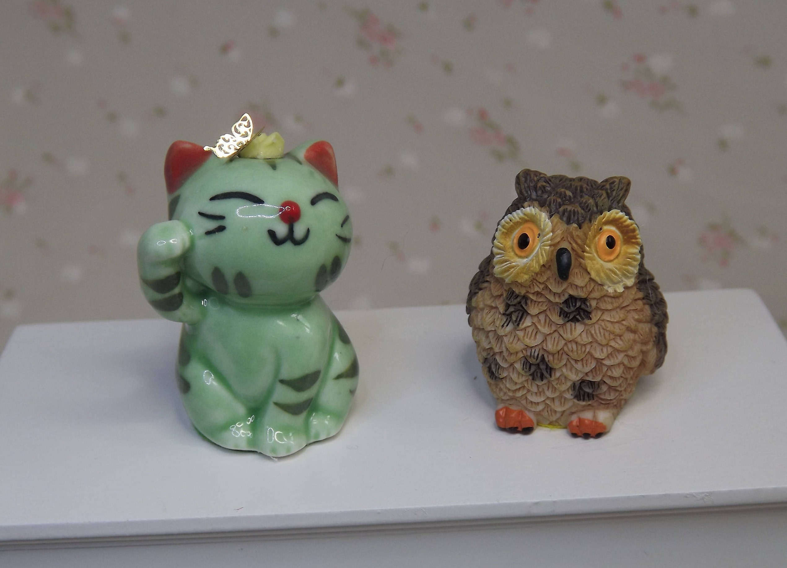 Miniature Dollhouse Ceramic Owl Figurines Yellow Statue Home Decor Collectibles