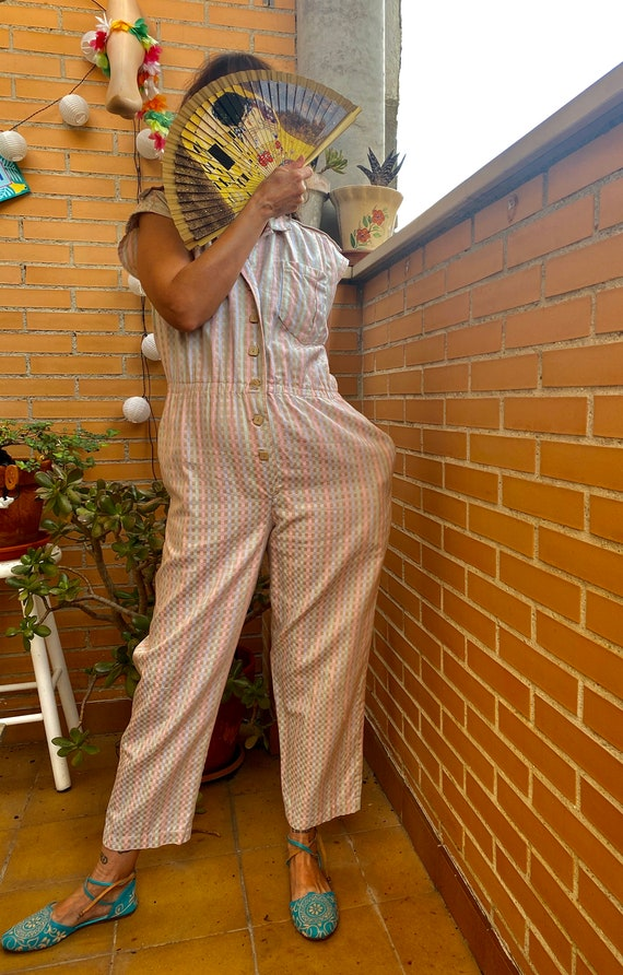 Vintage Playsuit from the 80s. Checked playsuit in